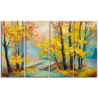 Designart Yellow Falling Forest Landscape Art Print Canvas -4 Panels