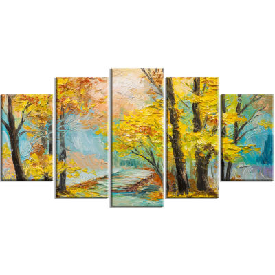 Yellow Falling Forest Landscape Art Print Canvas -5 Panels