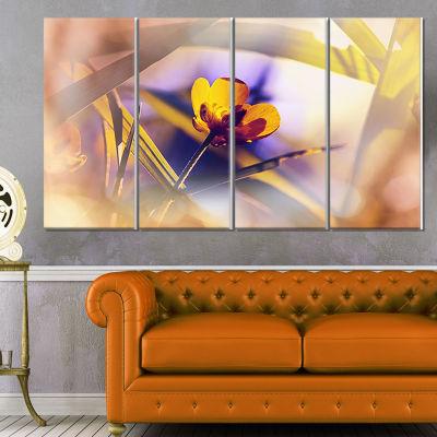 Designart Yellow Flower on Blue Background FloralCanvas ArtPrint - 4 Panels