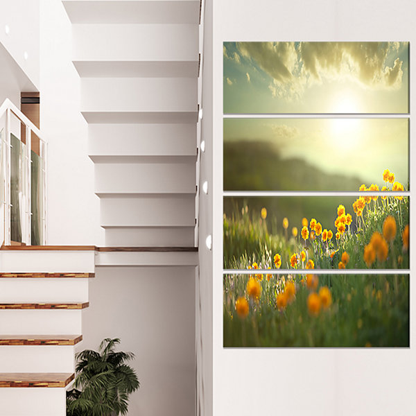 Designart Yellow Flowers in Meadow at Morning Floral CanvasArt Print - 4 Panels