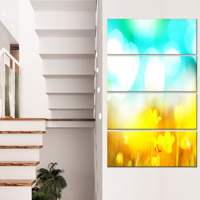 Designart Yellow Flowers on Blue Background LargeFlower Canvas Art Print - 4 Panels