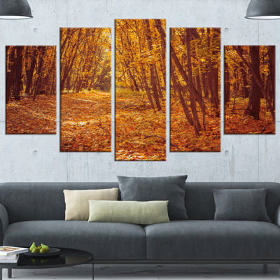Designart Yellow Forest and Fallen Leaves Modern Forest Wrapped Art - 5 Panels