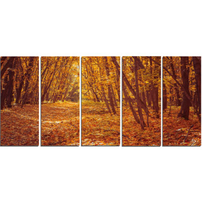 Designart Yellow Forest and Fallen Leaves Modern Forest Canvas Art - 5 Panels