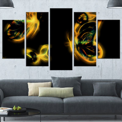Designart Yellow Fractal Butterflies on Black Floral CanvasArt Print - 4 Panels
