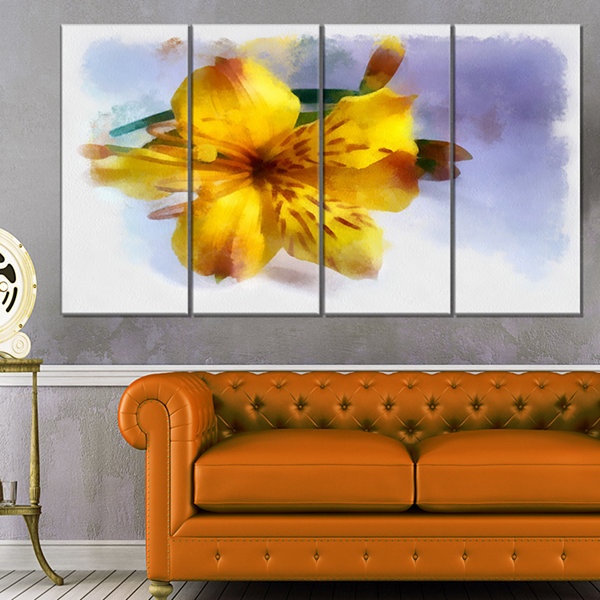 Designart Yellow Lily Hand Drawn Flower Floral Canvas Art Print - 4 Panels