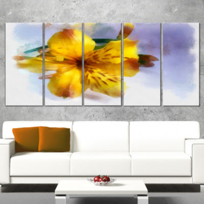Yellow Lily Hand Drawn Flower Floral Canvas Art Print - 5 Panels