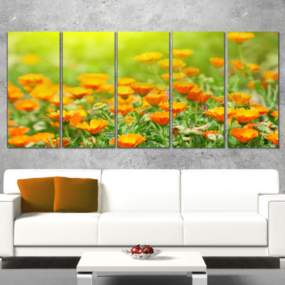 Designart Yellow Marigold Flowers Floral Canvas Art Print -5 Panels