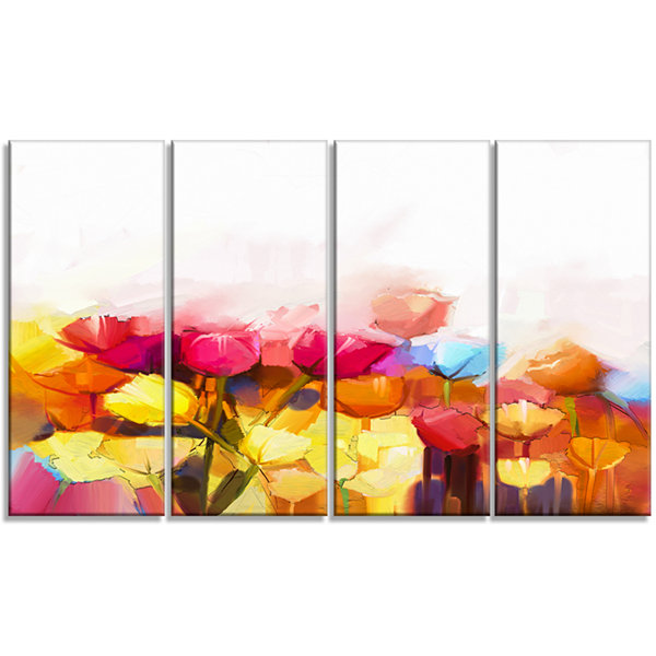Designart Yellow Pink Red Tulips on White Large Floral Canvas Artwork - 4 Panels