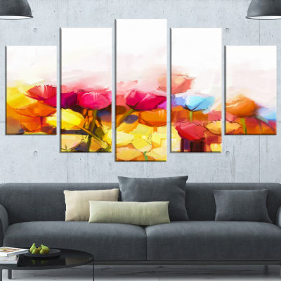 Yellow Pink Red Tulips on White Large Floral Canvas Artwork - 5 Panels