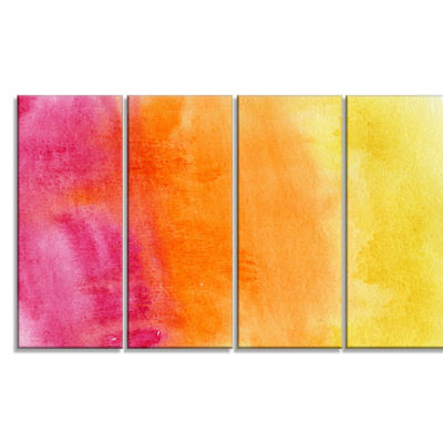 Designart Yellow Purple Meet Orange Abstract Canvas Art Print - 4 Panels