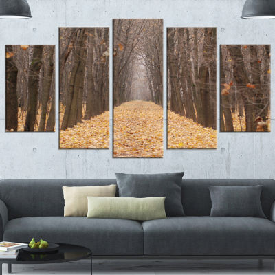Yellow Road Through Fall Forest Modern Forest Canvas Art - 4 Panels