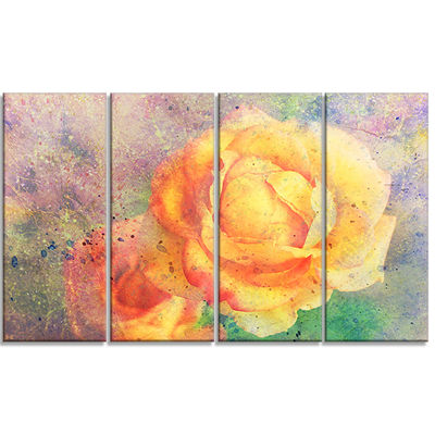 Designart Yellow Rose Watercolor Floral Art CanvasPrint - 4Panels