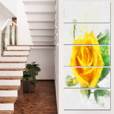 Designart Yellow Rose with Green Leaves Sketch Floral CanvasArt Print - 4 Panels