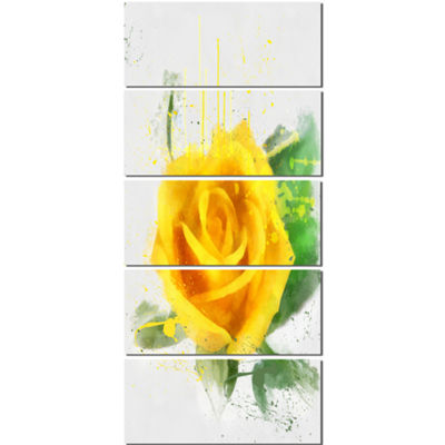 Designart Yellow Rose with Green Leaves Sketch Floral CanvasArt Print - 5 Panels