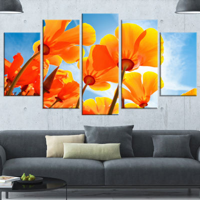 Yellow Spring Flowers on Blue Floral Wrapped Art Print - 5 Panels