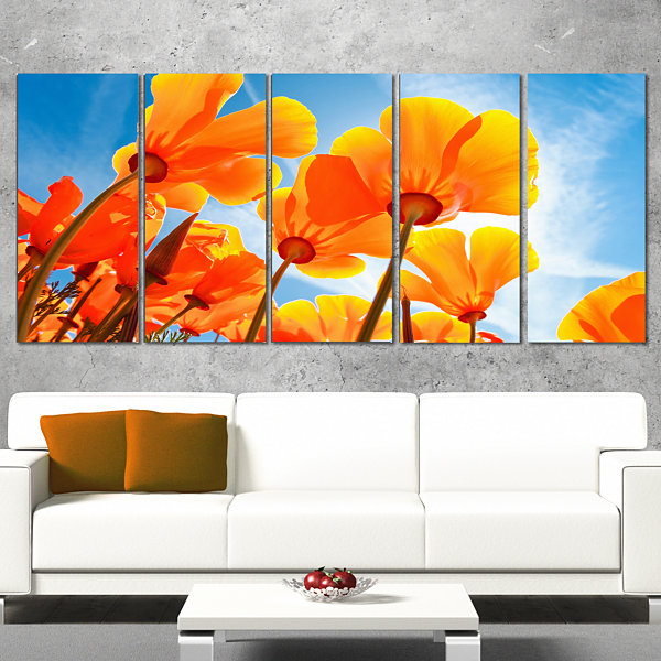 Yellow Spring Flowers on Blue Floral Canvas Art Print - 5 Panels