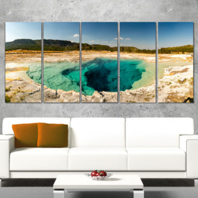 Yellow Stone Pool Panorama Landscape Print Wall Artwork - 4 Panels