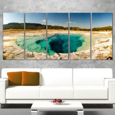 Designart Yellow Stone Pool Panorama Landscape Print WrappedWall Artwork - 5 Panels