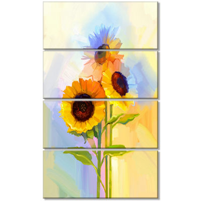 Designart Yellow Sunflowers with Green Leaves Floral CanvasArt Print - 4 Panels