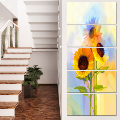 Yellow Sunflowers with Green Leaves Floral CanvasArt Print - 4 Panels