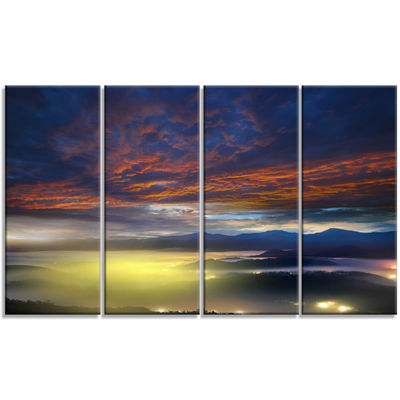 Designart Yellow Sunlight and Fiery Clouds Landscape Photography Canvas Print - 4 Panels