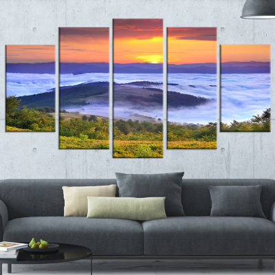 Yellow Sunrise Over Blue Waters Landscape Photo Wrapped Art Print - 5 Panels