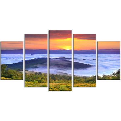 Designart Yellow Sunrise Over Blue Waters Landscape Photo Canvas Art Print - 5 Panels
