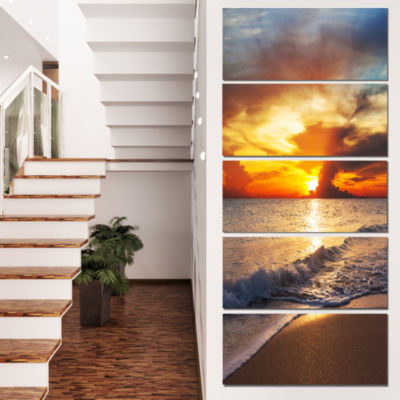 Designart Yellow Sunset Through Dark Clouds LargeSeashore Canvas Print - 5 Panels