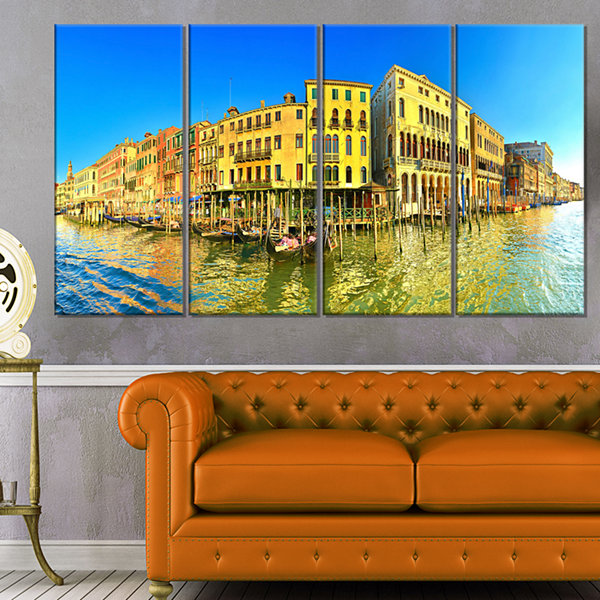 Designart Yellow Tinged Grand Canal Panorama Cityscape Canvas Art Print - 4 Panels