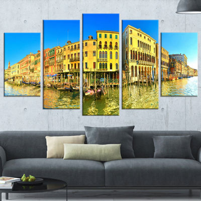 Designart Yellow Tinged Grand Canal Panorama Cityscape Wrapped Art Print - 5 Panels