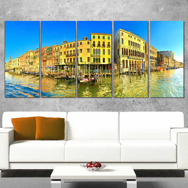 Yellow Tinged Grand Canal Panorama Cityscape Wrapped Art Print - 5 Panels