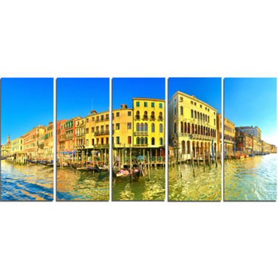 Designart Yellow Tinged Grand Canal Panorama Cityscape Canvas Art Print - 5 Panels