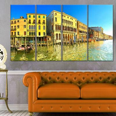 Designart Yellow Tinged Grand Canal Venice Cityscape CanvasArt Print - 4 Panels