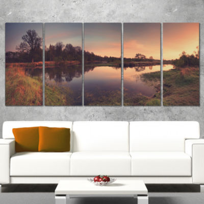 Yellow Tinged Spring Mountains Landscape Artwork Canvas - 5 Panels