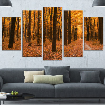 Yellow Trees and Fallen Leaves Modern Forest Canvas Art - 4 Panels