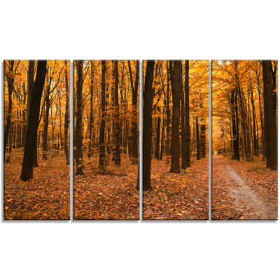 Designart Yellow Trees and Fallen Leaves Modern Forest Canvas Art - 4 Panels