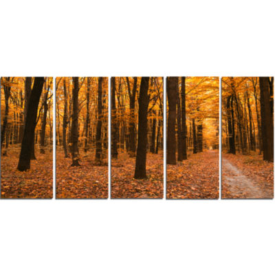 Yellow Trees and Fallen Leaves Modern Forest Canvas Art - 5 Panels