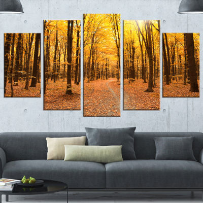 Designart Yellow Treetops in Fall Forest Modern Forest Canvas Art - 4 Panels