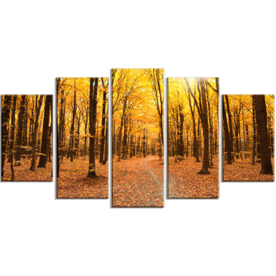 Designart Yellow Treetops in Fall Forest Modern Forest Wrapped Art - 5 Panels