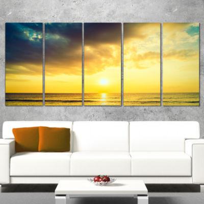 Designart Yellowish Sky Over Serene Seashore Seascape CanvasArt Print - 5 Panels