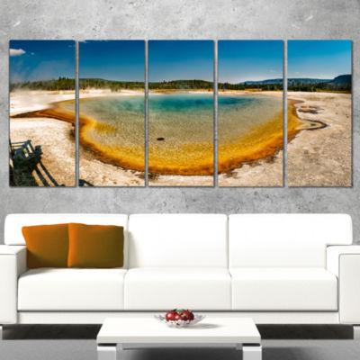 Designart Yellowstone Heat Pool Panorama LandscapePrint Wall Artwork - 4 Panels