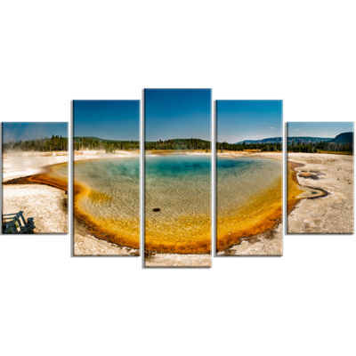 Designart Yellowstone Heat Pool Panorama LandscapePrint Wrapped Wall Artwork - 5 Panels