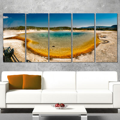 Designart Yellowstone Heat Pool Panorama LandscapePrint Wall Artwork - 5 Panels