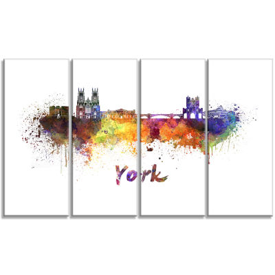 Designart York Skyline Cityscape Canvas Artwork Print - 4 Panels