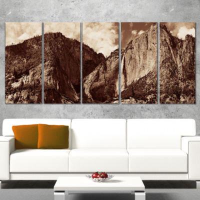 Designart Yosemite Waterfall Panorama Extra LargeSeashore Canvas Art - 4 Panels