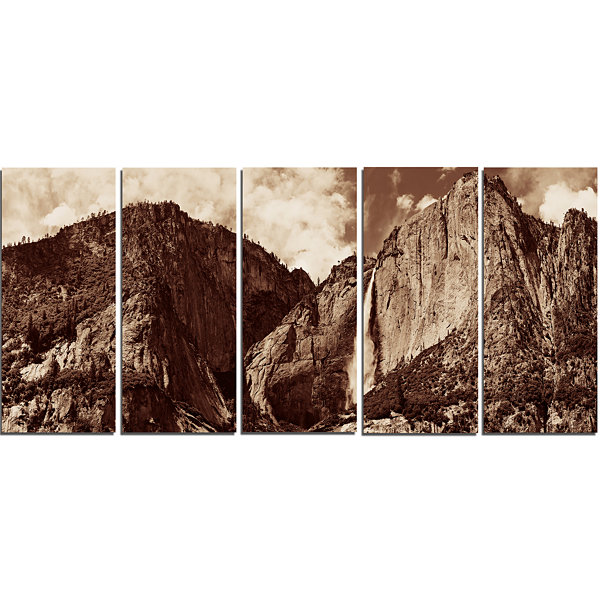 Designart Yosemite Waterfall Panorama Extra LargeSeashore Canvas Art - 5 Panels