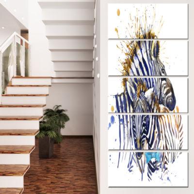 Designart Zebra Family Illustration Watercolor ContemporaryAnimal Art Canvas - 5 Panels