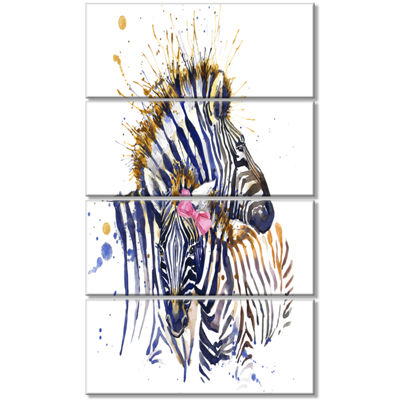 Designart Zebra Watercolor Leftwards Animal CanvasArt Print- 4 Panels