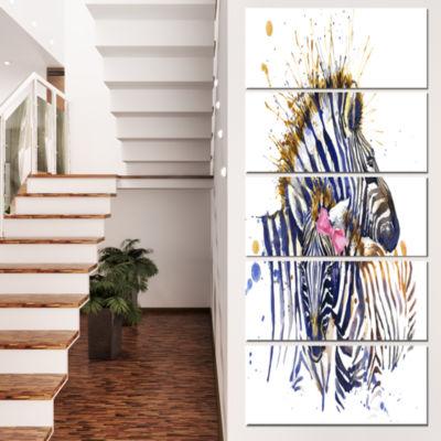 Zebra Watercolor Leftwards Animal Canvas Art Print- 5 Panels
