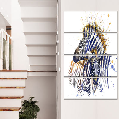 Designart Zebra Watercolor Rightwards Animal Canvas Wall Art- 4 Panels